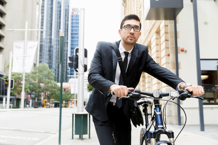 Young businessmen with a bike Stock fotó - 82043758
