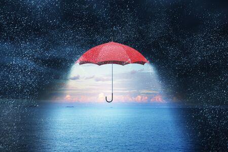 Color umbrella in sky