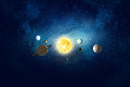 Background image with planets of sun system. Mixed media 版權商用圖片 - 82566617