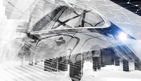 Double exposure of car and modern business concept. Mixed media Фото со стока