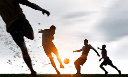 Silhouettes of soccer players Stock Photo - 82625125