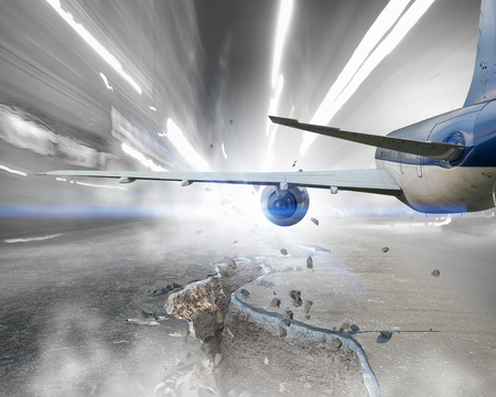 Airliner doing emergency landing on asphalt road. Mixed media