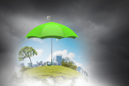 Umbrella accessory in sky against nature background as weather concept