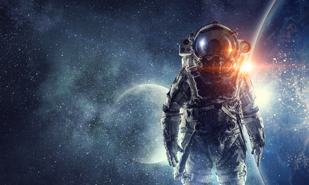 Astronaut in ruimtepak Stockfoto