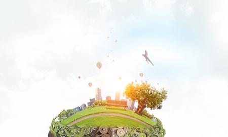 緑のエコの世界。ミクスト メディア