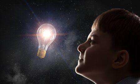 Bright ideas in his head. Mixed media