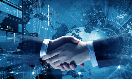 Business handshake as symbol for partnership Banco de Imagens