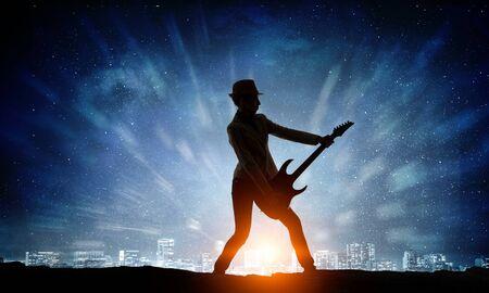 rocker girl: Rock girl with guitar. Mixed media