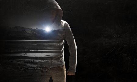 Guy in hoody. Mixed media Фото со стока - 82805341