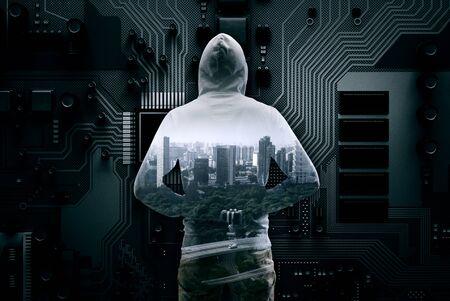 Guy in hoody. Mixed media Фото со стока - 82814154