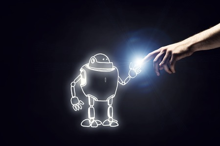 hand touch: Funny sketched robot