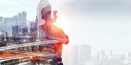 Builder Mann gegen Stadtbild