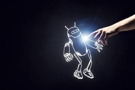 funny robot: Funny sketched robot