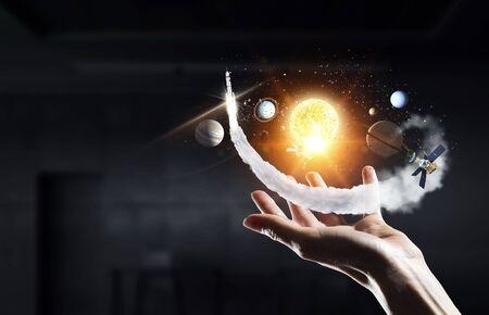 Solar system in hands Stok Fotoğraf