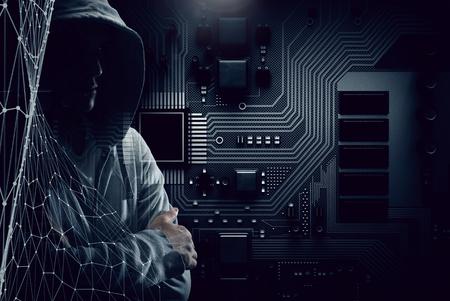 Guy in hoody. Mixed media Фото со стока - 82818887