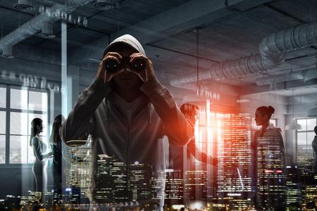 Guy in hoody. Mixed media
