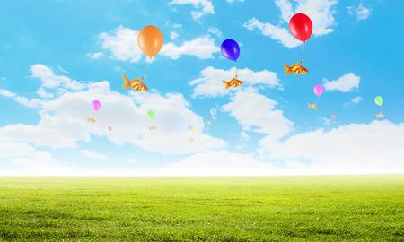 Goudvisvlieg op ballon. Gemengde media