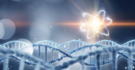 DNA molecule spiral. Mixed media
