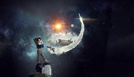 I will explore space . Mixed media