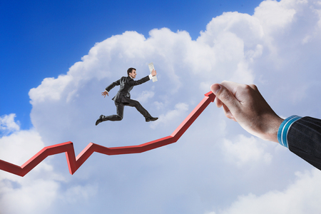 Climbing up to success. Mixed media Banco de Imagens