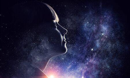 Girl on starry sky. Mixed media