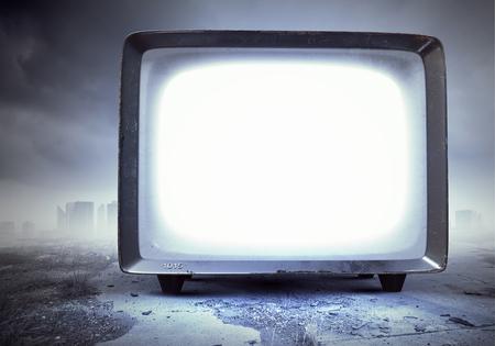 Old TV monitor. Mixed media