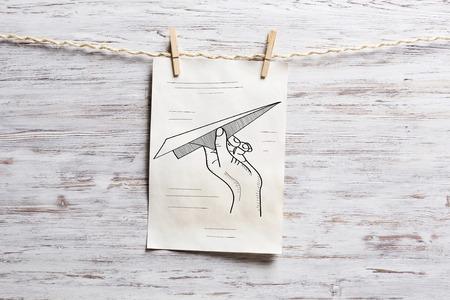Paper sheet on clip. Mixed media Фото со стока - 83189117