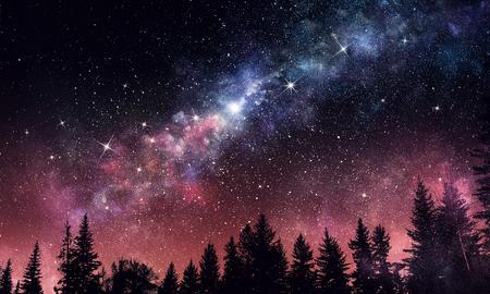 Stary clear night sky. Mixed media Banco de Imagens