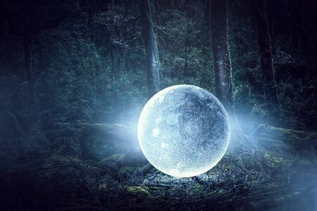 It is full moon. Mixed media