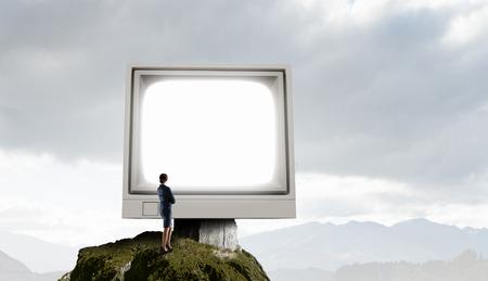 Old computer monitor. Mixed media