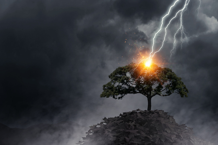 Bright lightning hit the tree Banque d'images