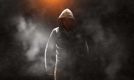 Guy in hoody. Mixed media Фото со стока - 83318085
