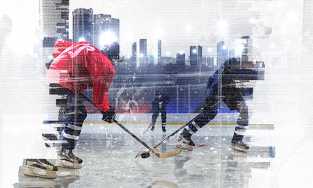 Joueurs de hockey sur glace. Médias mélangés Banque d'images - 83372961