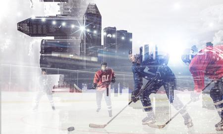 Joueurs de hockey sur la glace. mixte Banque d'images - 83373363