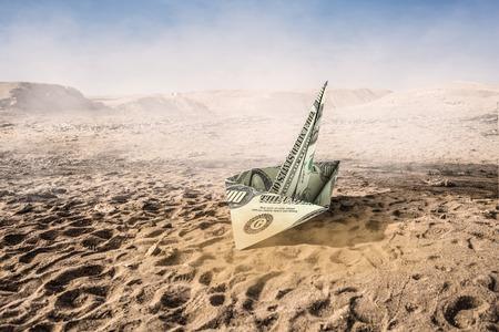 3d boat: Concept of financial crisis. Mixed media Stock Photo