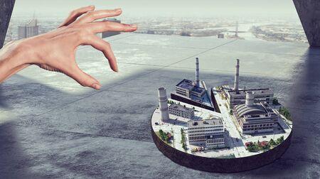 mixed media: New development project . Mixed media Stock Photo