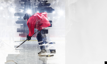 Double exposure of hockey players and modern cityscape. Mixed media