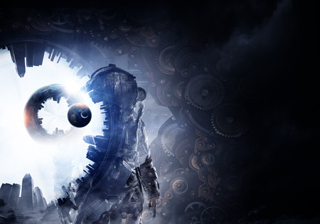 another way: Astronaut against dark background with gears and cogwheels. Mixed media. Elements of this image are furnished by NASA