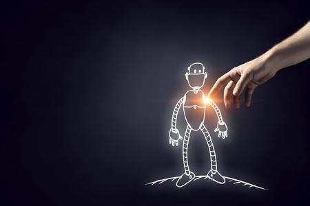 인간의 손이 손가락으로 로봇을 만지는 디자인 스케치
