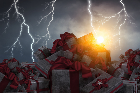 Pile of gift boxes and lightning striking at background. Mixed media Stok Fotoğraf - 83421597