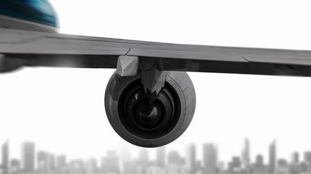 飛行機の翼近代的な都市景観上の飛んでいます。ミクスト メディア 写真素材