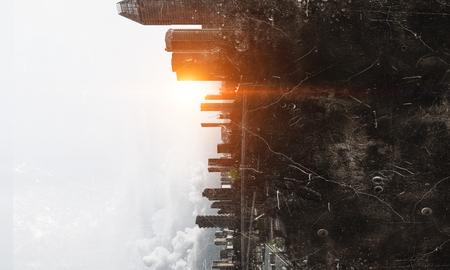 建物から来る太陽とグランジ モダンな街並みの背景