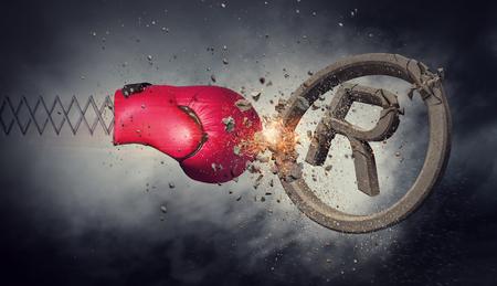 Rode bokshandschoen op symbool van het de lente het brekende concrete handelsmerk. Gemengde media