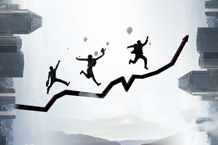 Climbing up to success. Mixed media photo