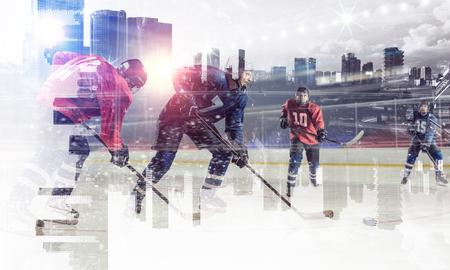 icehockey: Hockey players on ice. Mixed media