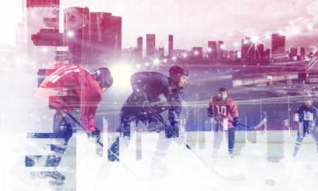 Joueurs de hockey sur glace. Médias mélangés Banque d'images - 83479945