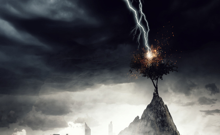 Bright lightning hit the tree Stock Photo