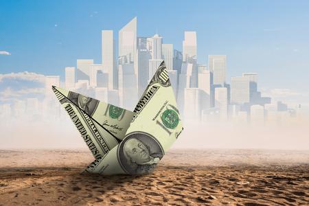 Concept of financial crisis. Mixed media Stock Photo