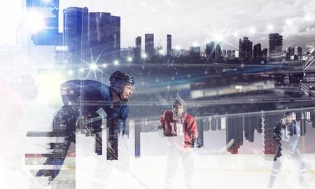 Joueurs de hockey sur glace. Médias mélangés Banque d'images - 83612688