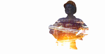 Engineer woman and cityscape. Mixed media Stock Photo
